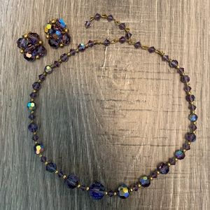 Vintage Iridescent Bead Necklace and Clip Earrings